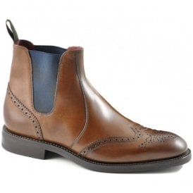 Mens Hoskins Dark Brown Leather Brogue Boots