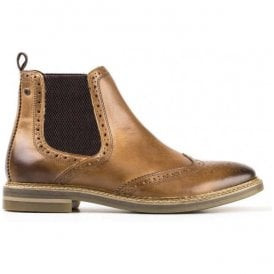 Mens Riley Burnished Tan Leather Brogue Chelsea Boots