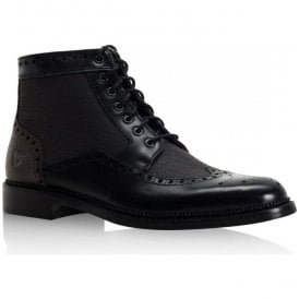 Mens Bashall Black Leather Derby Brogue Boots