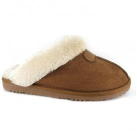 Womens Jill Chestnut Fur Lined Memory Foam Slippers