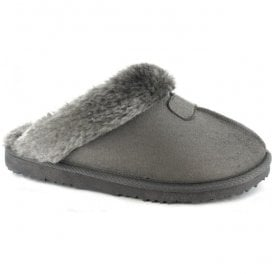 Womens Jill Grey Fur Lined Memory Foam Slippers