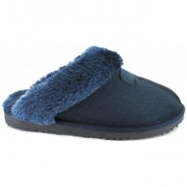 Womens Jill Navy Fur Lined Memory Foam Slippers