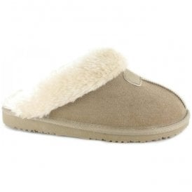 Womens Jill Beige Fur Lined Memory Foam Slippers