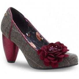 Womens Truly Brown Tweed Heeled Court Shoes