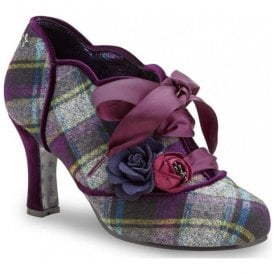 Womens Yazzabelle Purple Tartan Heeled Shoes