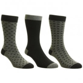 Mens Box Set Black Multi Patterned Cotton Rich Socks
