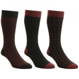 Mens Box Set Burgundy Multi Patterned Cotton Rich Socks
