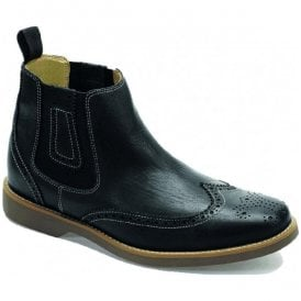 Mens Gustavo Black Floater Brogue Chelsea Boots