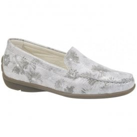 Womens Harriet Grey Floral Slip On Loafers 431000 168 070