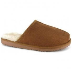 Mens Jack Chestnut Fur Lined Memory Foam Slippers