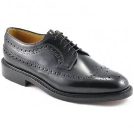 Mens Royal Black Lace-Up Brogue Shoes