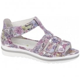 Womens Hakura Rose Floral Velcro Sandals 351802 154 202