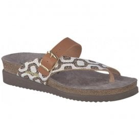 Womens Helen Mix Copacabana Camel Strap Over Toe Loop Sandals