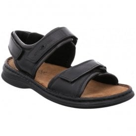 Mens Rafe Black/Brasil Leather Velcro Sandals 10104