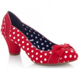 Womens Hayley Red Spots Court Shoes 09185