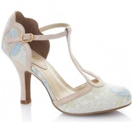 Womens Polly Blue T-Bar Court Shoes 09173