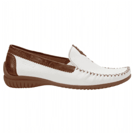 Womens White/Tan Leather Driving Shoes 86.090.51