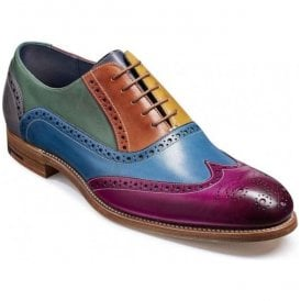Mens Valiant Multi-Coloured Hand Painted Lace-Up Brogue Shoes