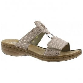 Womens Dusty Beige Velcro Mules 608P9-62