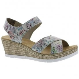 Womens Halifax Multicolour Leather Strap Over Wedge Sandals 61943-90