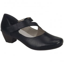 Womens Lugano Black Leather Strap Over Shoes 41793-00
