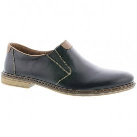 Mogano Black/Brown Leather Slip On Shoes 13468-00