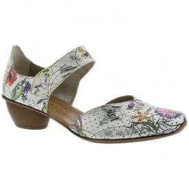 Womens Bouquet White Multi Leather Bar Shoes 43789-90