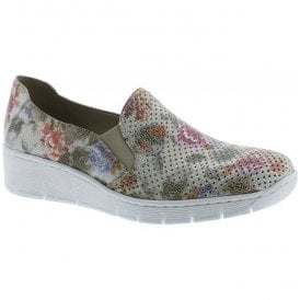 Womens Piza Multicolour Casual Leather Slip On Flat Shoes 537A5-90