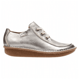 Womens Funny Dream Pewter Metallic Leather Casual Shoes 26132332