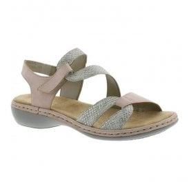 Womens Mussarana White/Rose Velcro Strap Over Sandals 65969-81