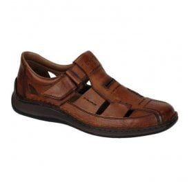 Clarino Brown Leather Velcro Shoes 05284-24