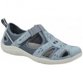Womens Cleveland Denim Blue Casual Velcro Open Shoes 28051