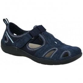 Womens Cleveland Navy Blue Casual Velcro Open Shoes 28052