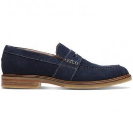 Mens Clarkdale Flow Navy Suede Loafers 26131754