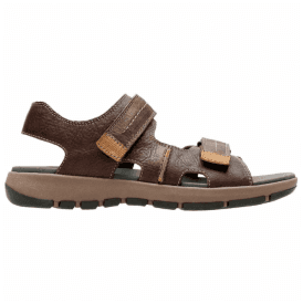 Mens Brixby Shore Dark Brown Leather Velcro Sandals 26131549