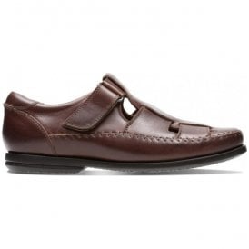 Mens Un Gala Strap Dark Tan Leather Velcro Shoes 26132638