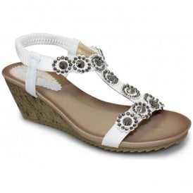 Womens Cally White T-Bar Wedge Sandals JLH780 WT