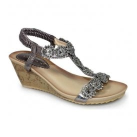Womens Cally Pewter T-Bar Wedge Sandals JLH780 PW