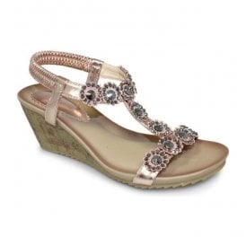 Womens Cally Rose Gold T-Bar Wedge Sandals JLH780 RO