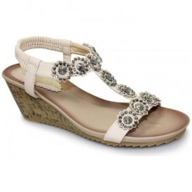 Womens Cally Beige T-Bar Wedge Sandals JLH780 BG