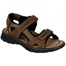 Mens Lava Brown Strap Over Sandals 26757-24