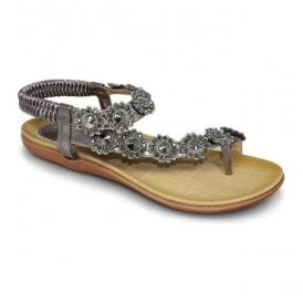 Womens Charlotte Pewter Toe-loop Sandals JLH601 PW