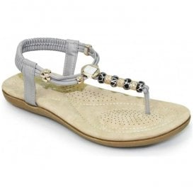 Womens Murano Grey Beaded Toe Post Sandals JLH879 GR