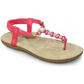 Womens Murano Pink Beaded Toe Post Sandals JLH879 PK