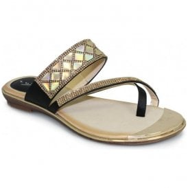 Womens Aisha Black Toe-Loop Sandals JLH910 BK