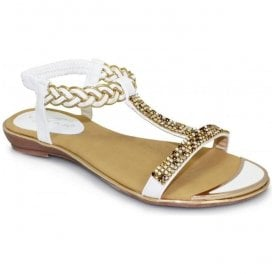 Womens Comet White T-Bar Sandals JLH913 WT