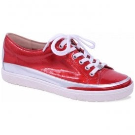 Womens Manou Red Patent Leather Lace Up Trainers 9-9-23654-20 515