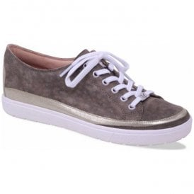 Womens Manou Khaki Leather Lace Up Trainers 9-9-23654-20 731