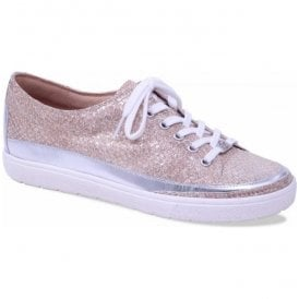 Womens Manou Light Gold Leather Lace Up Trainers 9-9-23654-20 954