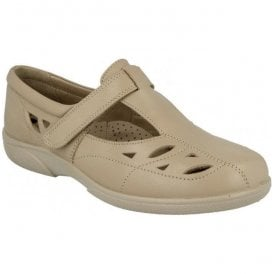 Womens Flavia T-Bar Shoes With Cutouts In Sand Milled 78333H EE-4E (2V)
